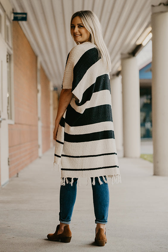 Florentine Stripe Fringe Bottom Shawl Cardigan