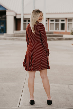 Flynn Burgundy Stripe Button Front Dress