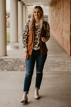 Frankie Soft Leopard Print Crew Neck Top
