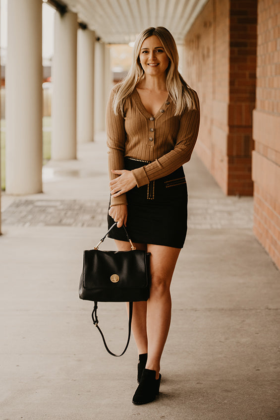 Gabby Black Suede Studded Skirt