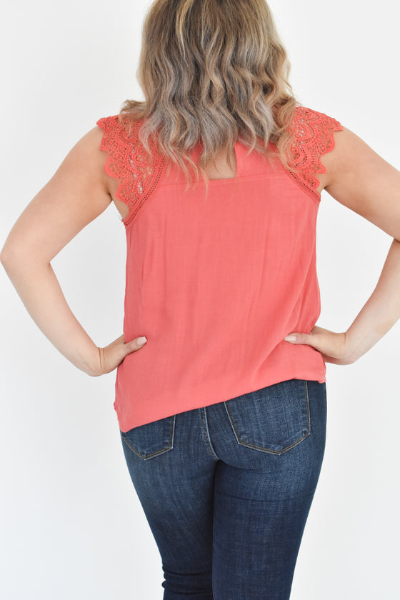 Liberty Lace Trim Top in Coral