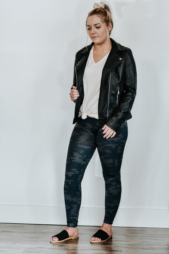 Genevive Black Faux Leather Jacket