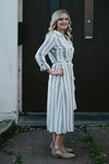 Halle Stripe White and Navy Kimono Dress