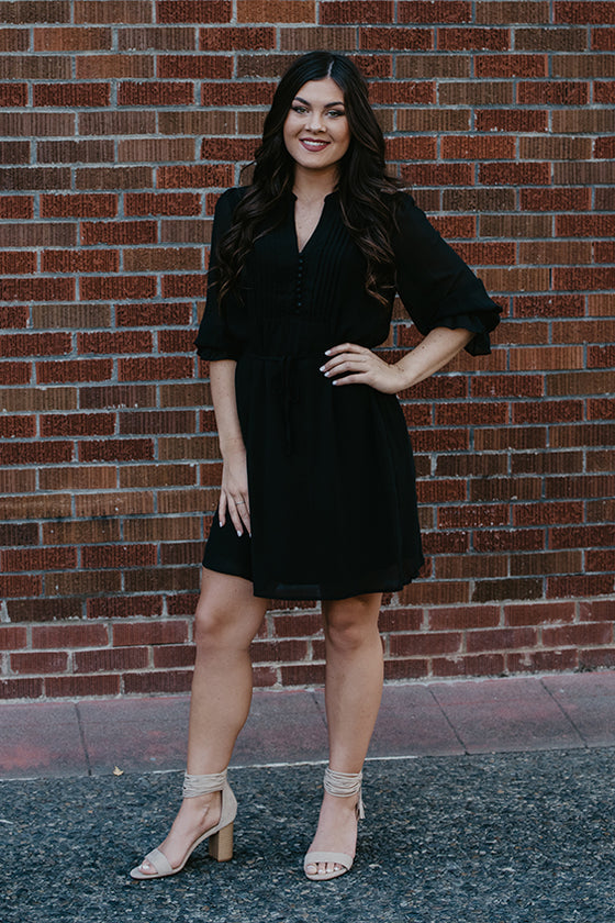Heidi Black Button Front Dress