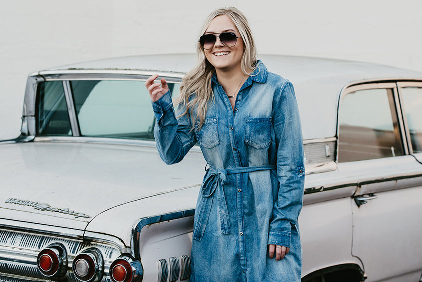 Helena Light Denim Kimono Dress