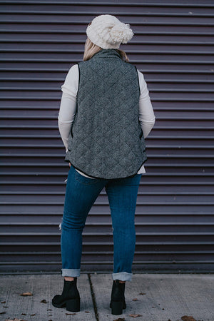 Helga Herringbone Black and White Vest