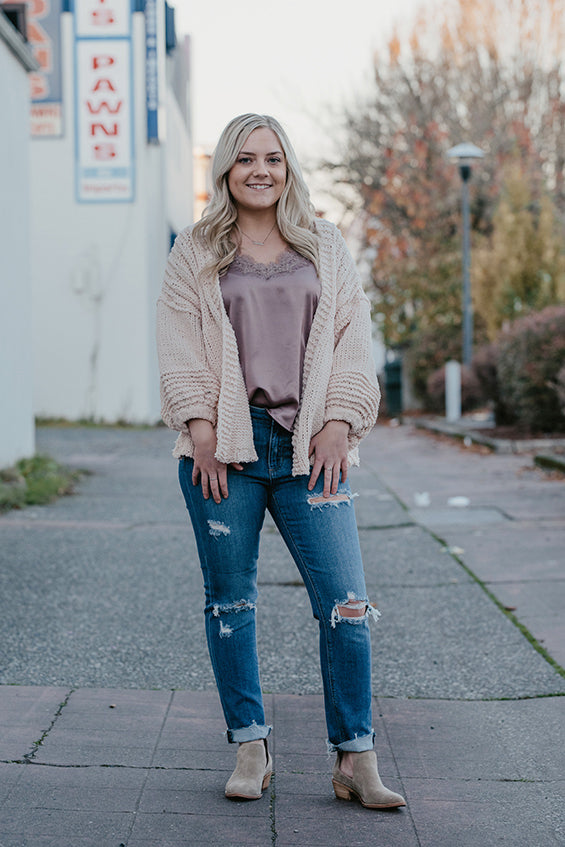 Henley Cream Blush Balloon Cardigan