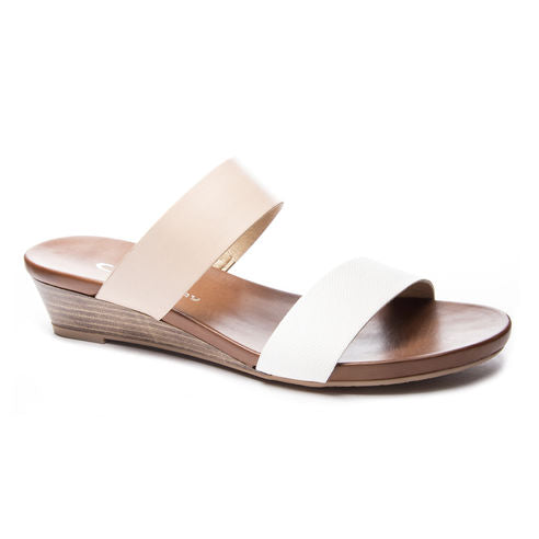 Katelyn Wedge Sandals in White and Nude