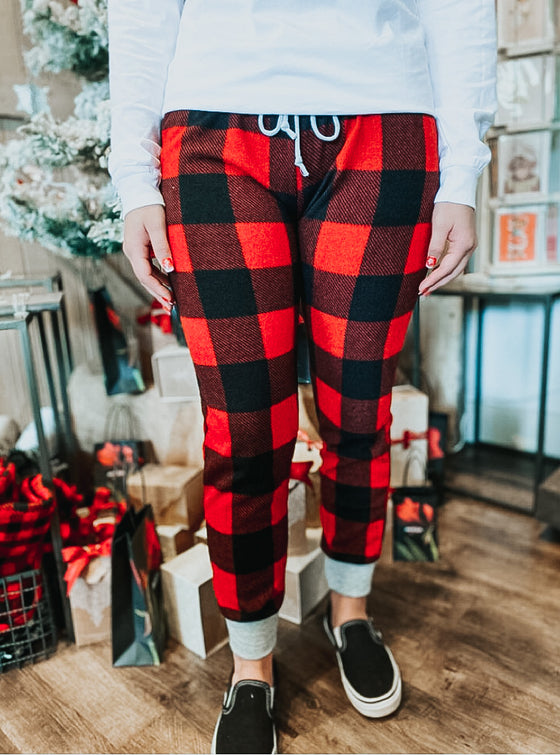 Margot Buffalo Plaid Joggers in Red