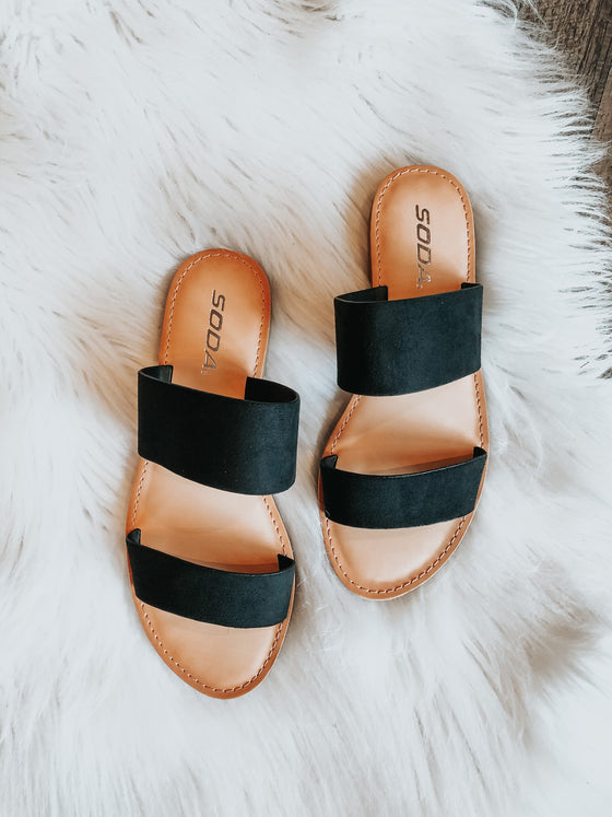 Alayah Black Double Strap Slides
