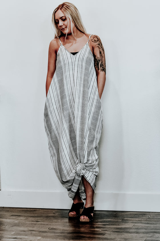 Josephine Stripe Balloon Maxi Dress