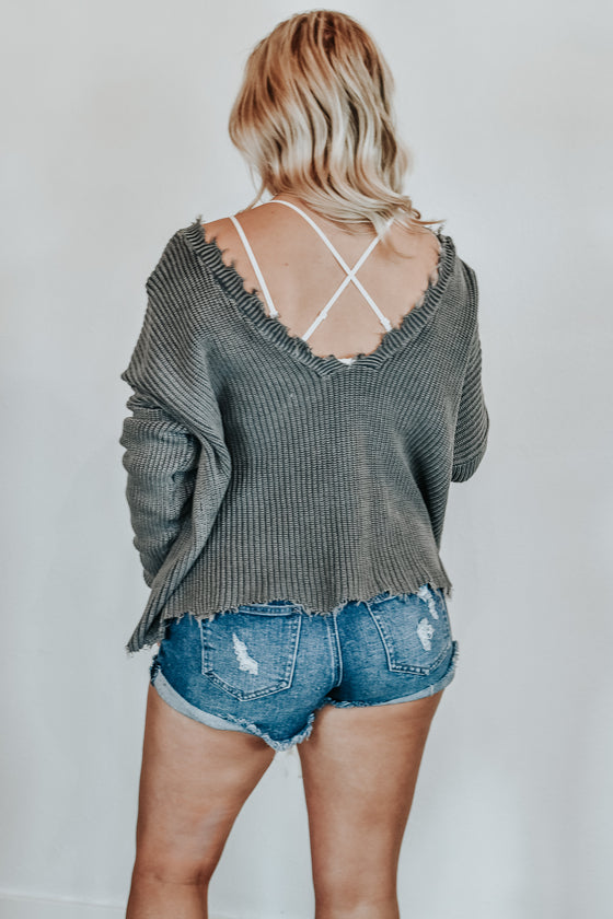 Juliet Washed Frayed V Neck Charcoal Sweater