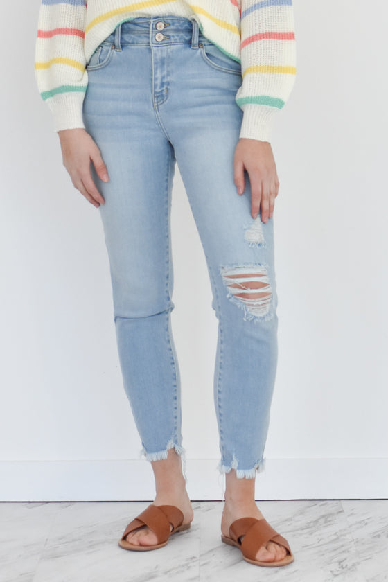 Kailani High Rise Detail Skinny Jeans