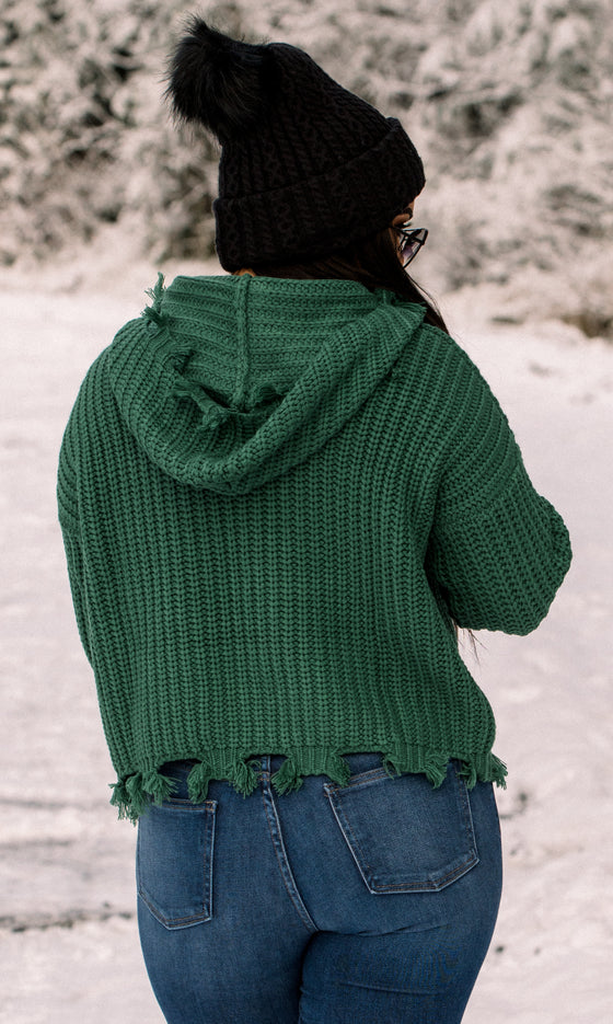 Katelyn Zip Frayed Green Hooded Sweater