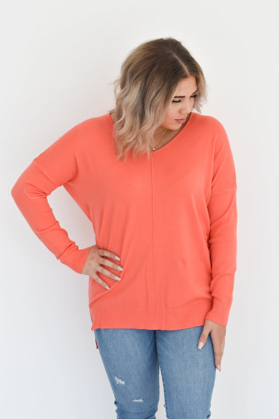 Kylee V Neck Sweater in Melon