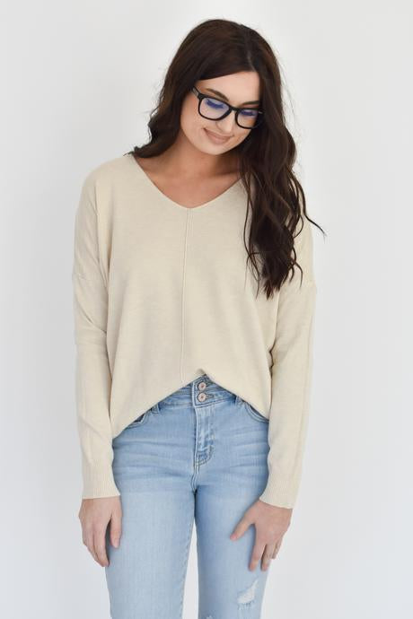 Kylee V Neck Sweater in Heather Oatmeal