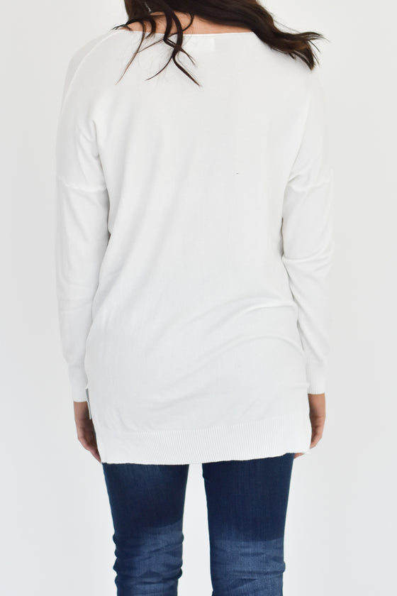 Kylee V Neck Sweater in White