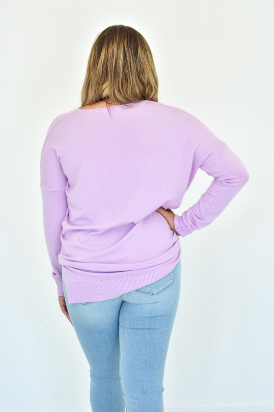 Kylee V Neck Sweater in Orchid