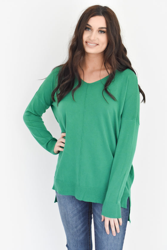 Kylee V Neck Sweater in Kelly Green