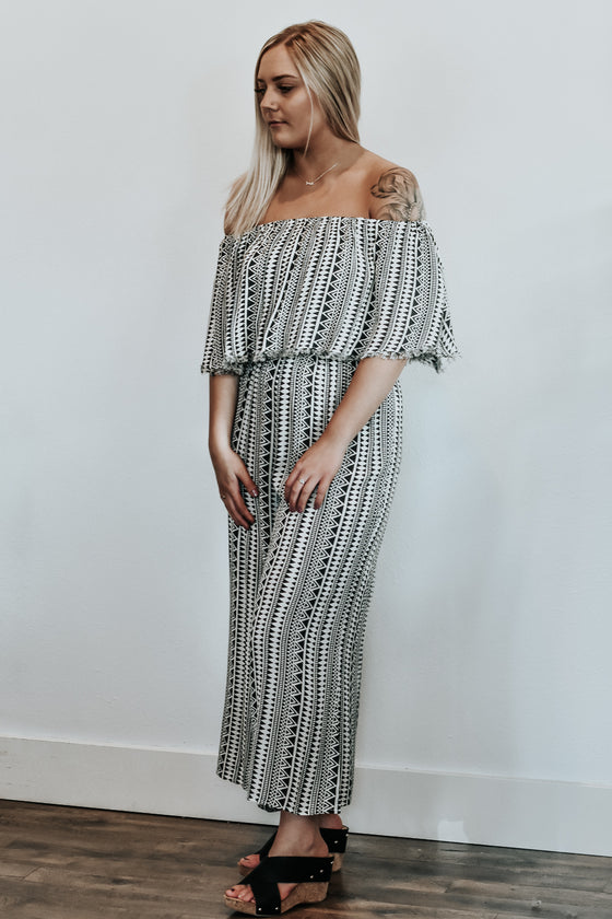 Leah Off Shoulder Tribal Jumpsuit