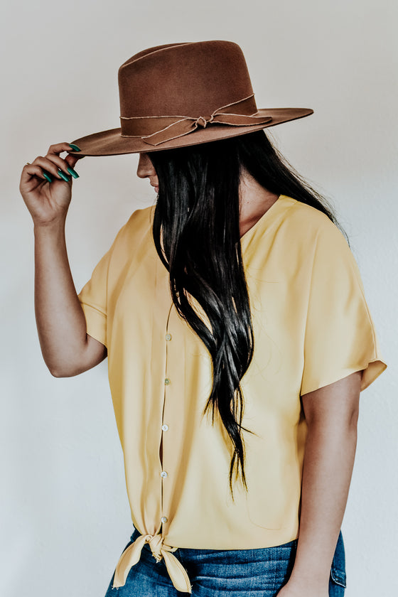 Lily Tie Front Muted Gold Shirt