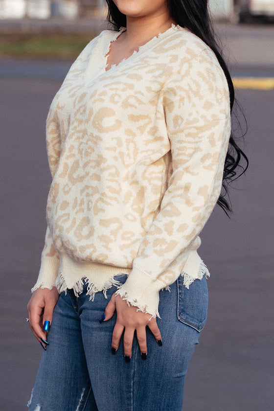 Madison Leopard Print Destroyed Sweater