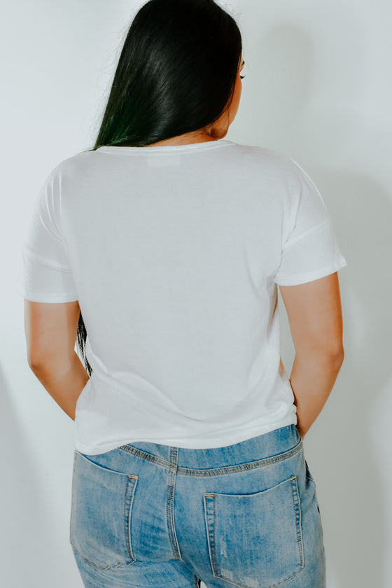 Maria White Pocket Tee