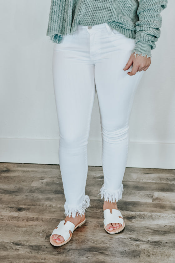 McKenzie White Fringe Bottom Jeans