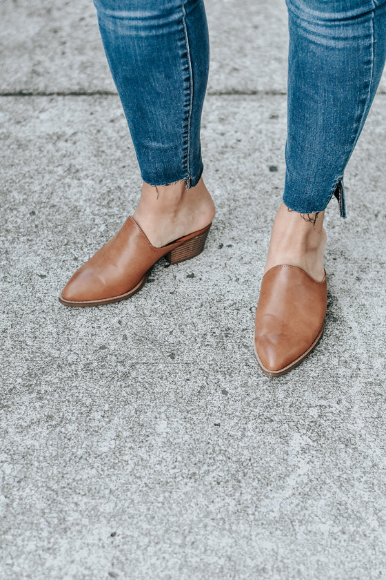 Mollie Mule Heels in Burnished Camel