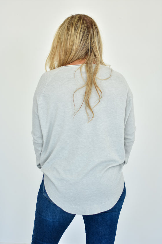 Novalee Round Neck Sweater in Grey