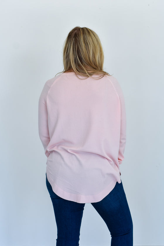 Novalee Round Neck Sweater in Pink