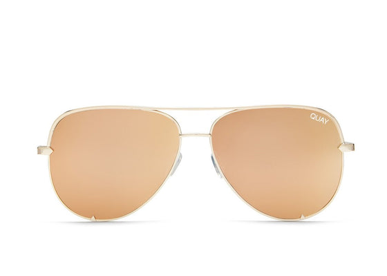 Quay High Key Sunglasses in Gold/Gold