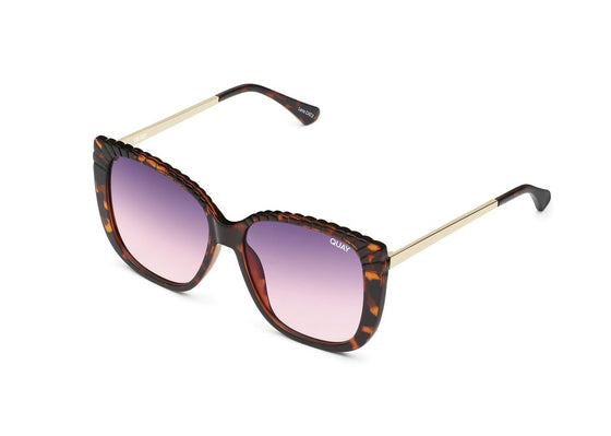 Quay Ever After Etched Sunglasses in Tortoise/Smoke Purple