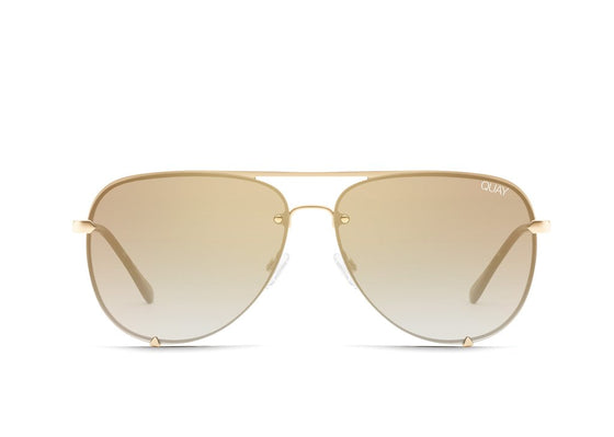Quay High Key Mini Rimless Sunglasses in Gold/Brown