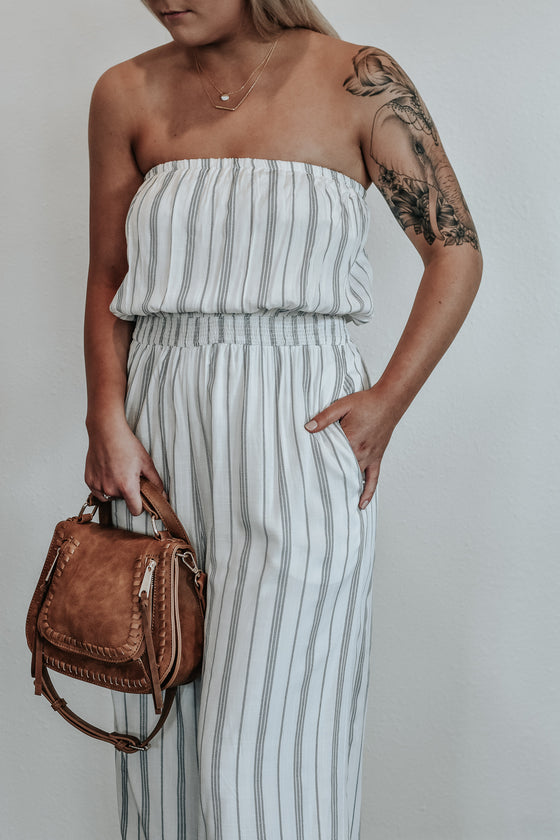 Reese Stripe Strapless Jumpsuit