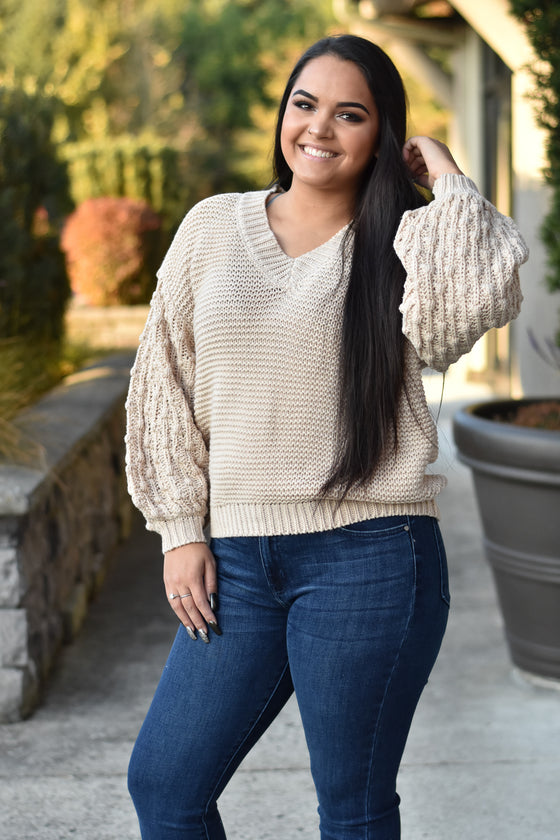 Sabrina Oatmeal Button Back Sweater