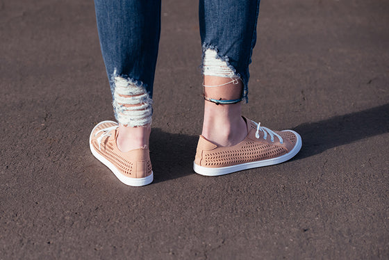 Scarlett Blush Pink Laser Cut Tennis Shoes