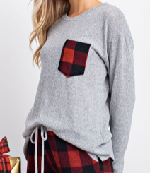 Holiday Buffalo Check Pocket Heather Gray Crew
