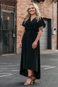 Serena Black Wrap Midi Dress