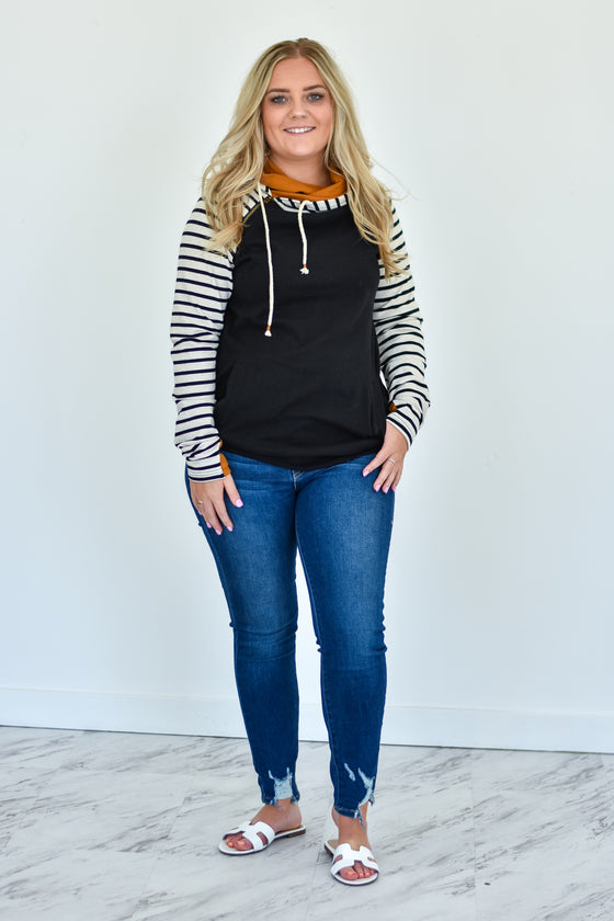 Susan Stripe and Rust Double Hoodie