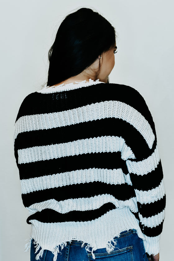 Sydney Destroyed Stripe Sweater