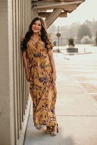 Tansy Mustard Floral Wrap Maxi Dress