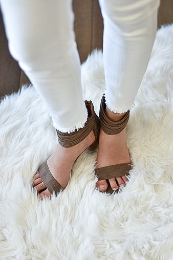Lenna Taupe Strappy Heels