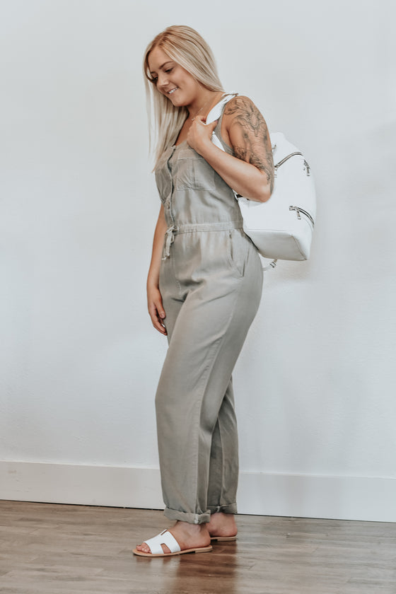 Taylor Olive Button Front Jumpsuit