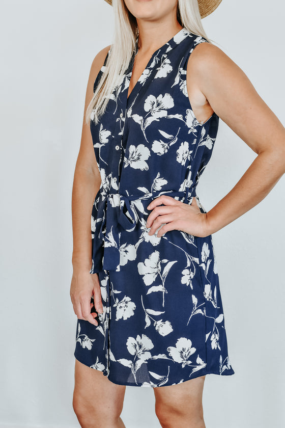 Trinity Button Front Navy Floral Dress