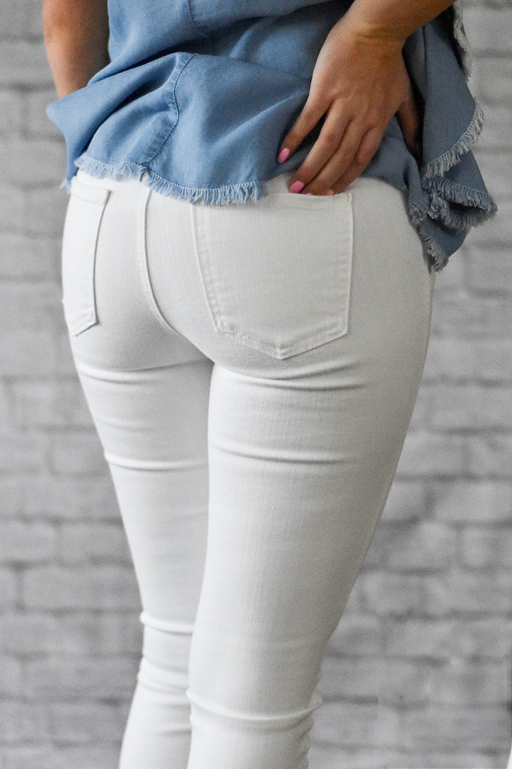 Lexie White Button Up Fly Unfinished Hem Jeans