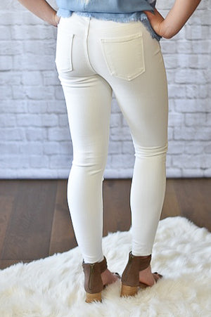 Olivia White Finished Hem Jeans