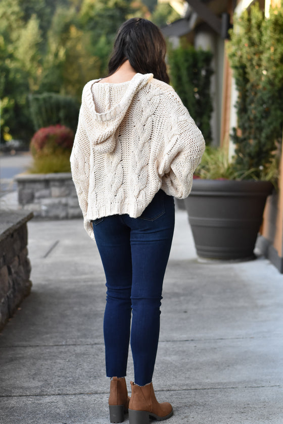 Zariah Ivory Hooded Sweater
