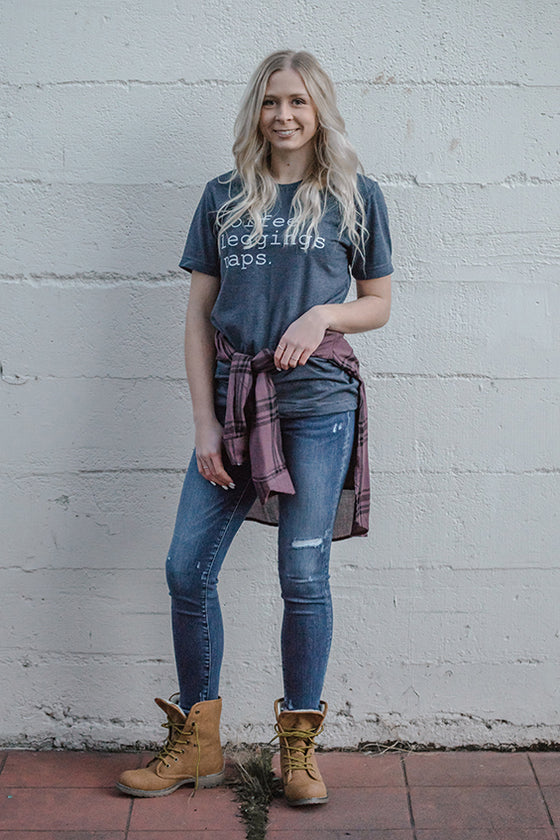 Coffee Leggings Naps Graphic Tee in Charcoal