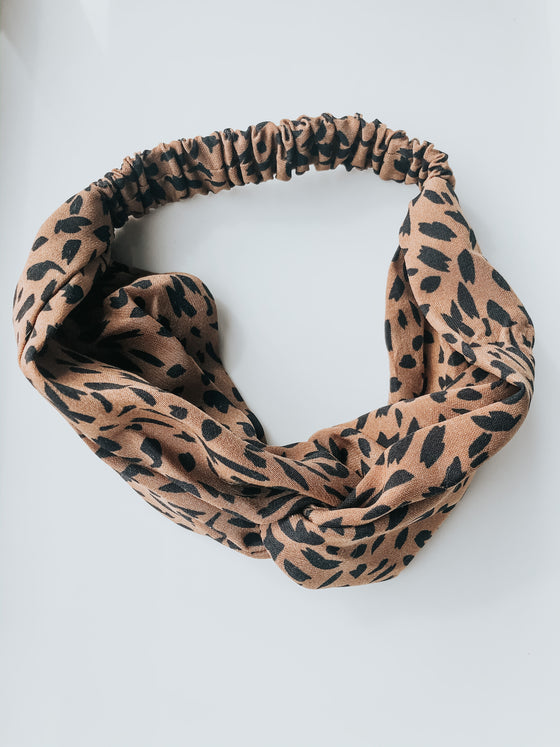 Aileen Twist Cheetah Headband - Brown & Black